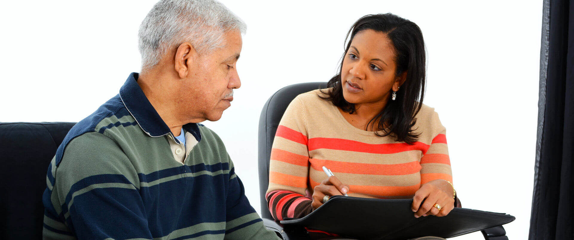 senior man having a session with therapist